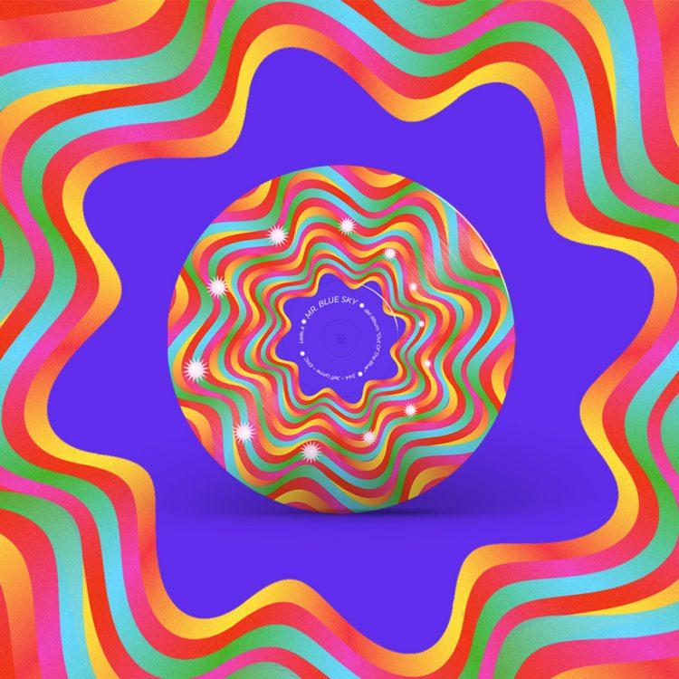 Disco de vinilo colorido con efecto de fenaquistiscopio, es decir, que al girar a cierta velocidad las estrellas de su superficie aparecen animadas.
