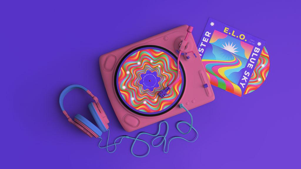 Tocadiscos colorido en la que se puede ver la carátula del disco y una pieza impresa sobre el disco.