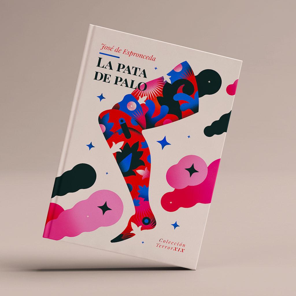 """Portada para """"La Pata de Palo"""" de Espronceda, una pierna modernista que corre sola sobre un fondo blanco diáfano."""