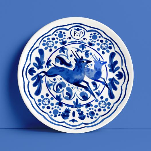 Uno de los platos dibujados que forman parte de la vajilla personalizada hecha para la marca La taza.