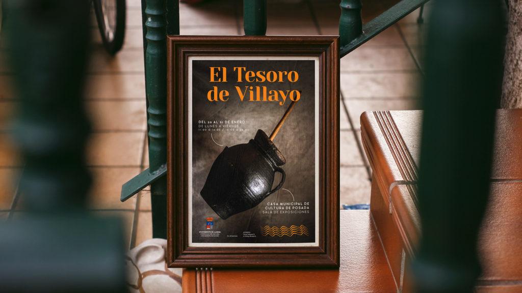 """Cartel para la exposición de cerámica negra """"El tesoro de Villayo"""" en el que se muestra una de las piezas de la exposición e información adicional."""