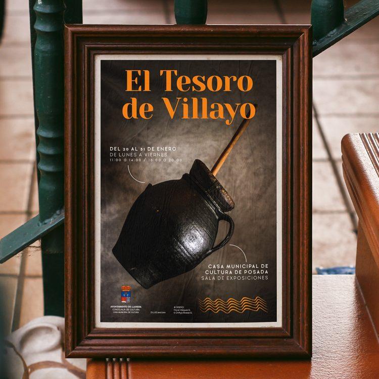 Cartel enmarcado del apartado gráfico de la exposición El Tesoro de Villayo.