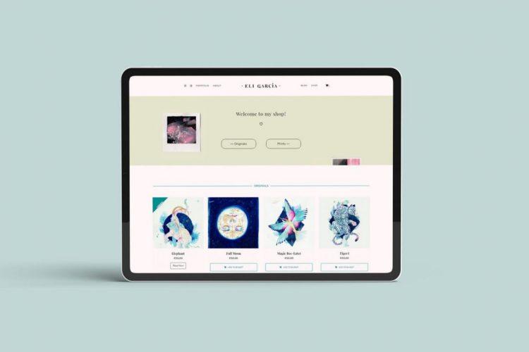 Simulación en un iPad del portfolio web de eligarcia.me