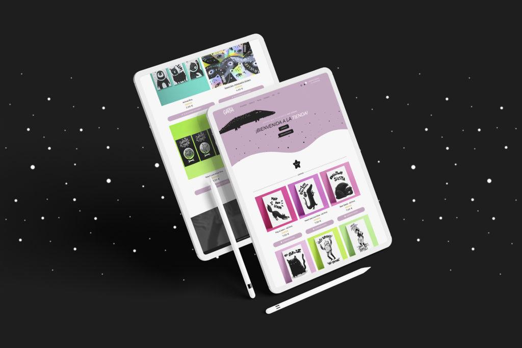 Dos iPad con la web de garraillustration.com