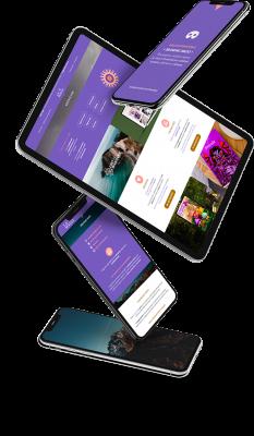Diseño de páginas web. Simulación de tablets y smartphones con imágenes de paisajes y de nuestra web.