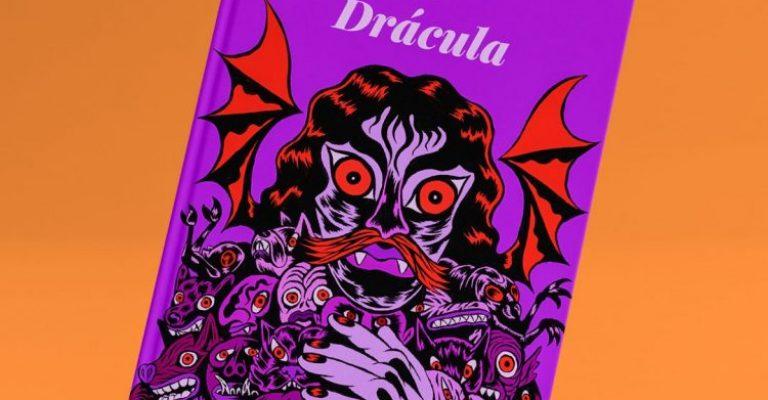 Drácula rodeado de varios seres demoníacos. Tonos rojos y violetas.